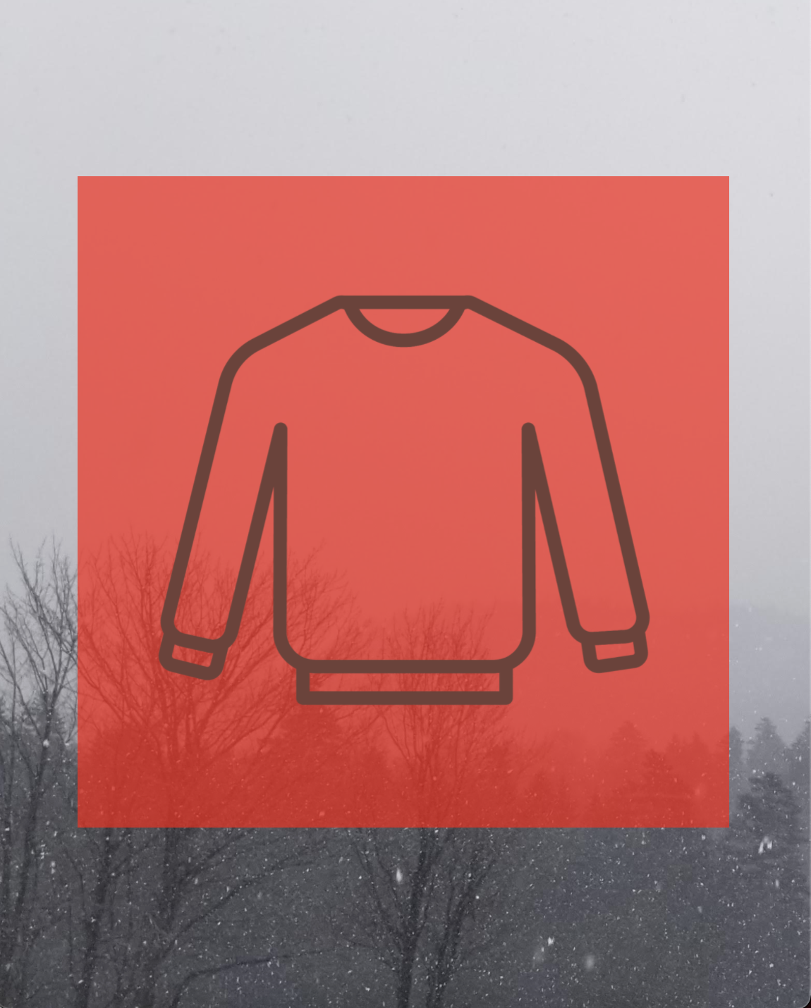Sweater outline with an overflowing red background