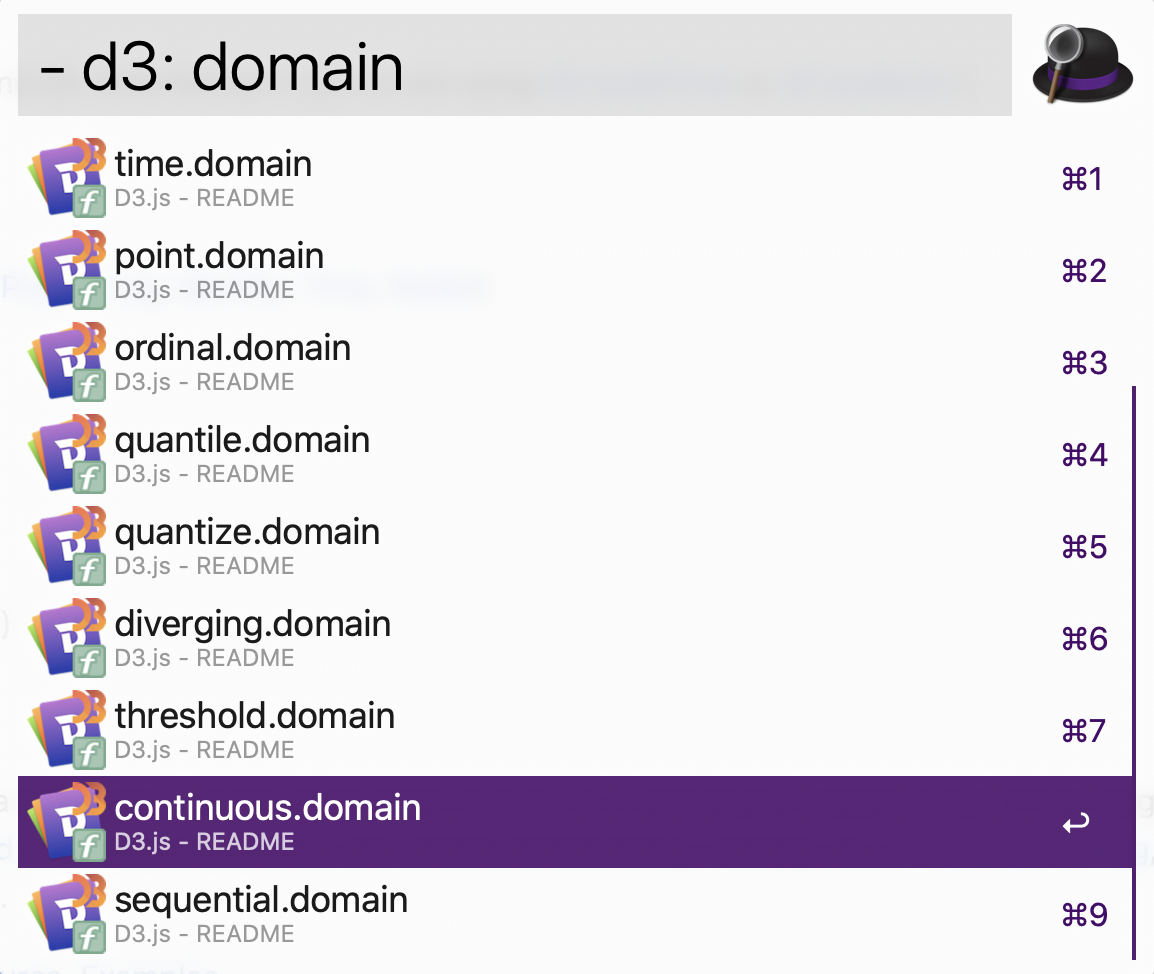 "Alfred search ""- d3: domain"" results: time, point, ordinal, quantile, quantize, diverging, threshold, continuous & sequential"