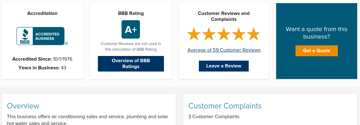 BBB.org profile page for choosing the right HVAC company.