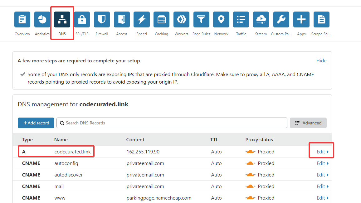 Edit DNS records on Cloudflare for self-hosted Ghost
