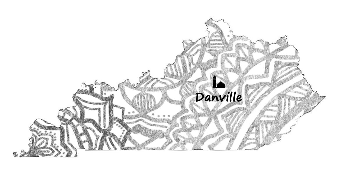 map of kentucky with danville highlighted