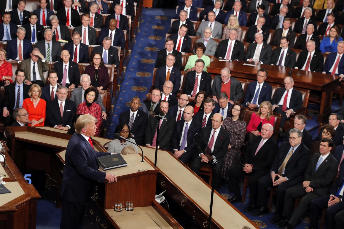 U.S. President Donald J. Trump delivers a State of Union address to the U.S. Congress.