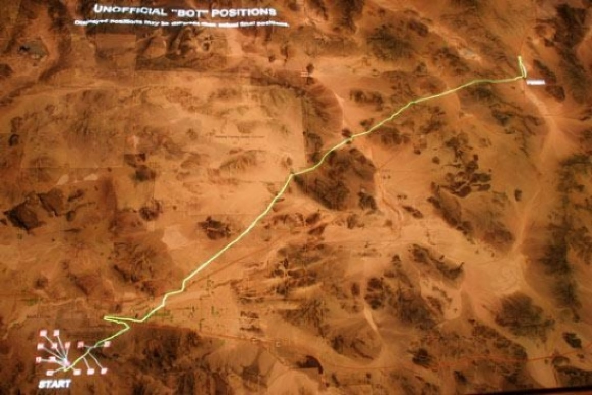 The yellow line marks the route of the Grand Challenge. The pink markers show how far the vehicles made it. Yeah, this was ba