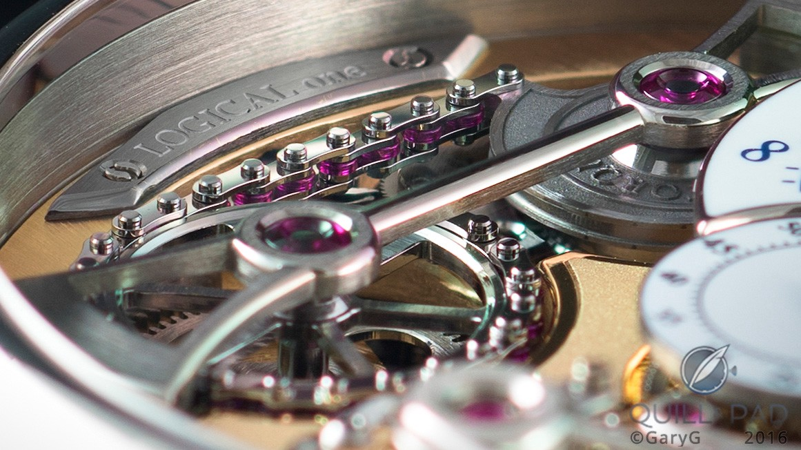 Ruby slippers: movement detail showing ruby bearings on constant torque chain of the Romain Gauthier Logical One