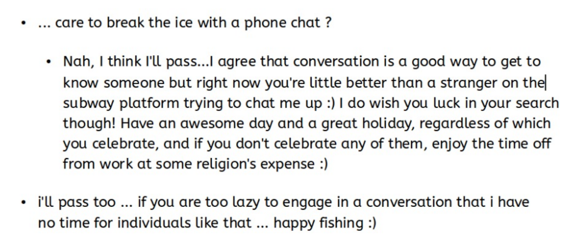 Chat text from lazy male dater who couldn't be bothered to fill out his profile, or read mine