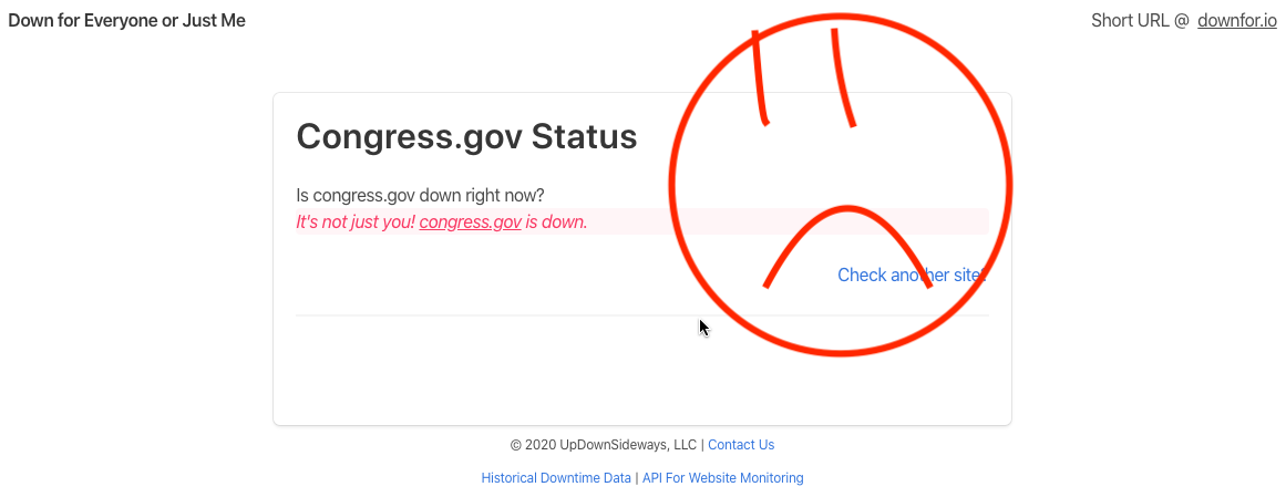 A screen capture showing that Congress' website is broken.