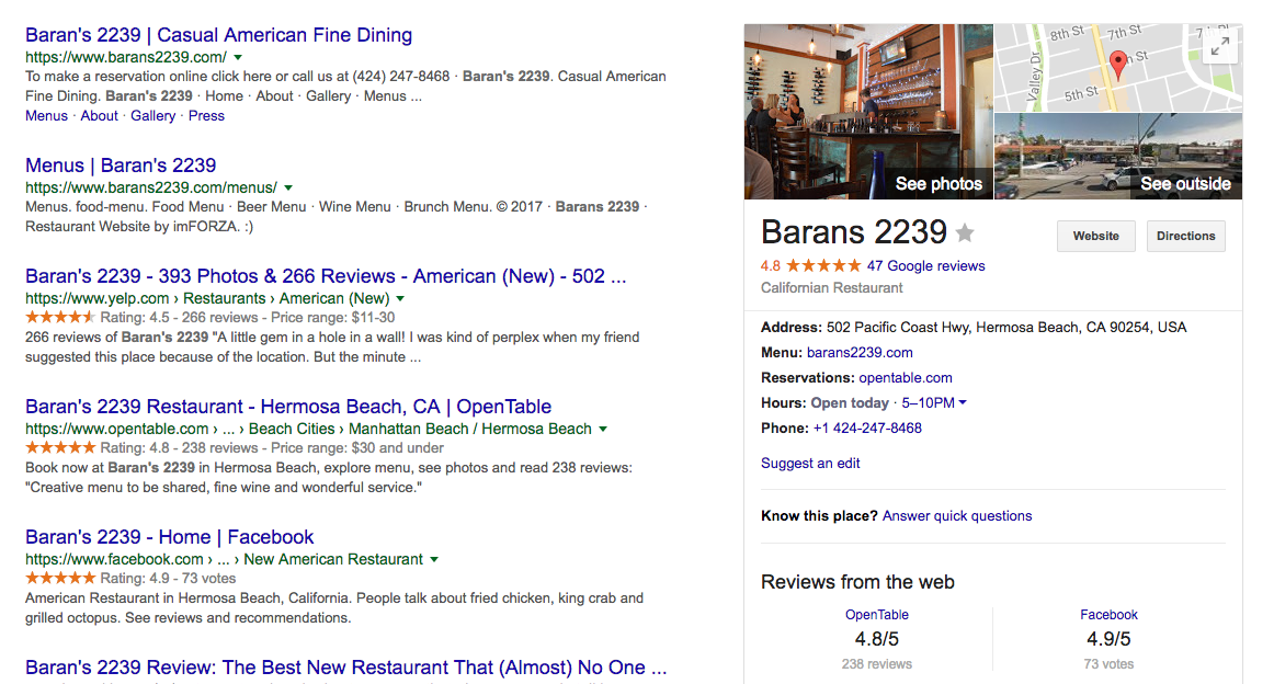 Google My Business results in local searches for branded queries