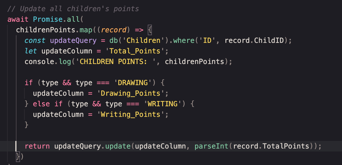 code updating children's points and providing a breakdown between points earned for drawing and writing submissions