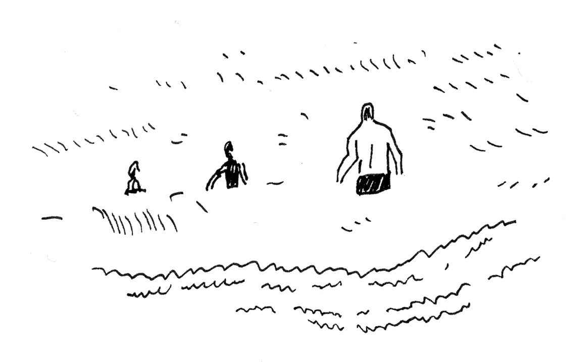 A sketch of people wading into the ocean