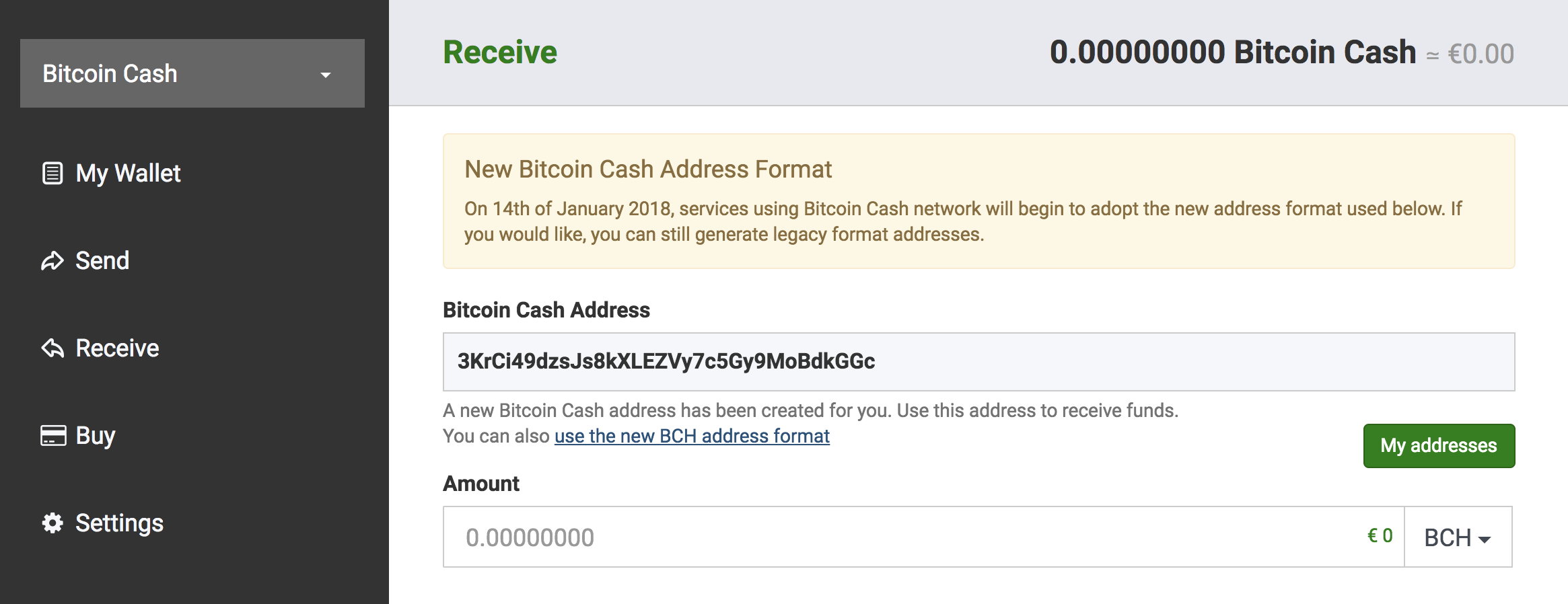 Bitcoin Cash CashAddr format in your BTC com Wallet