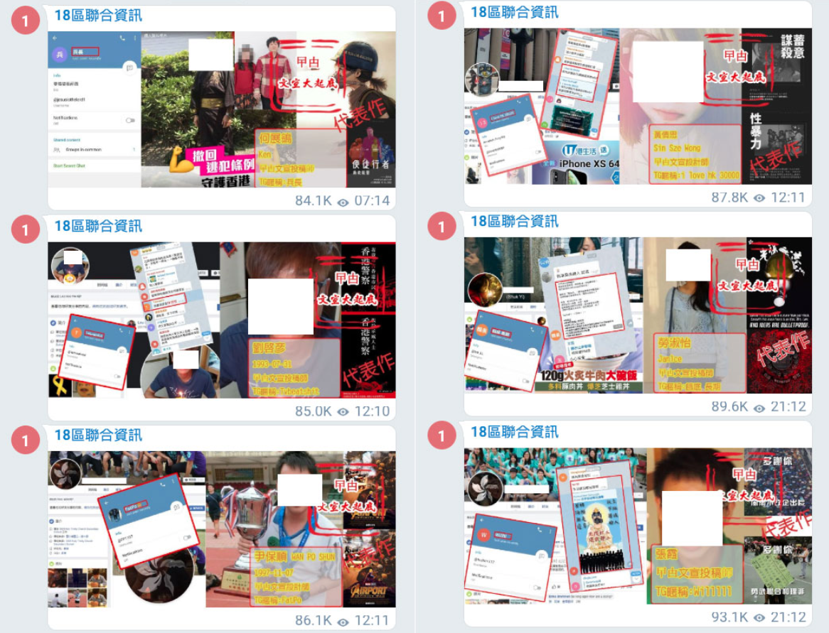 Telegram channels used to doxx and report Hong Kong protesters to Chinese Authorities 12
