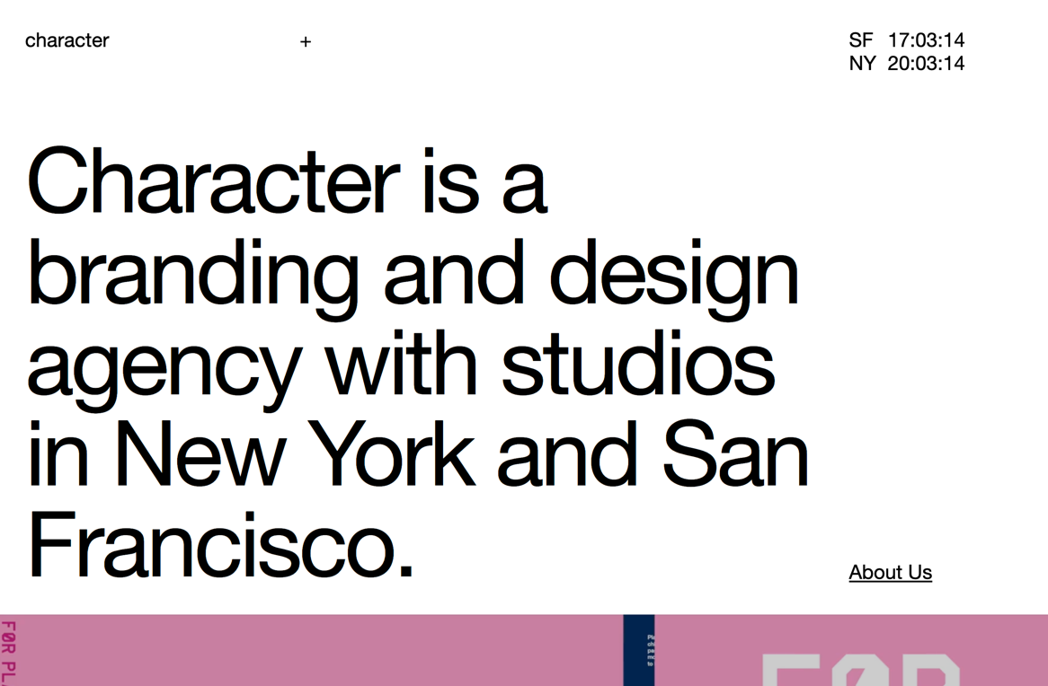 Character — branding and design agency in SF and NYC