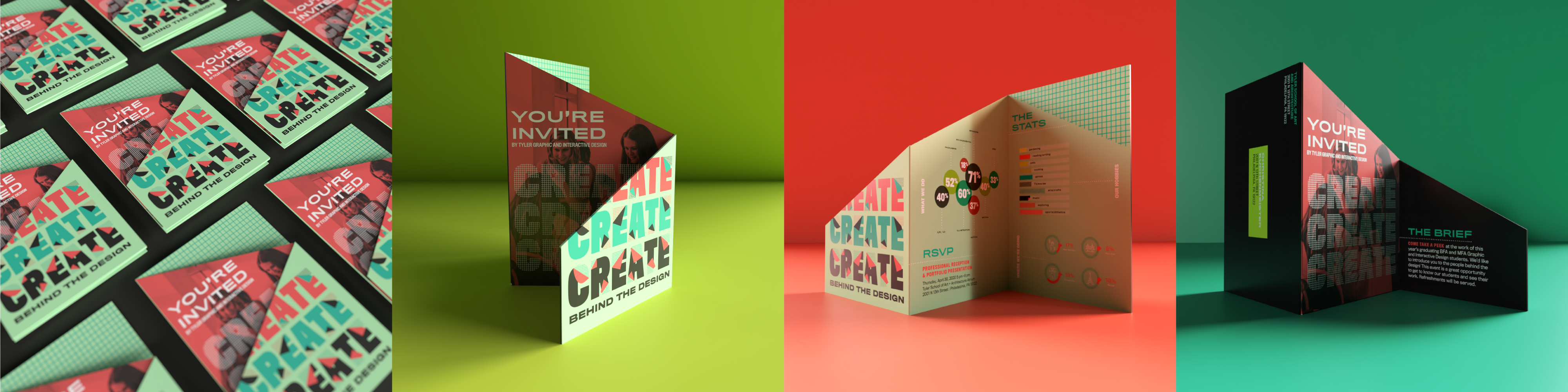 four images collaged together with different angles of the invitation on a colored background