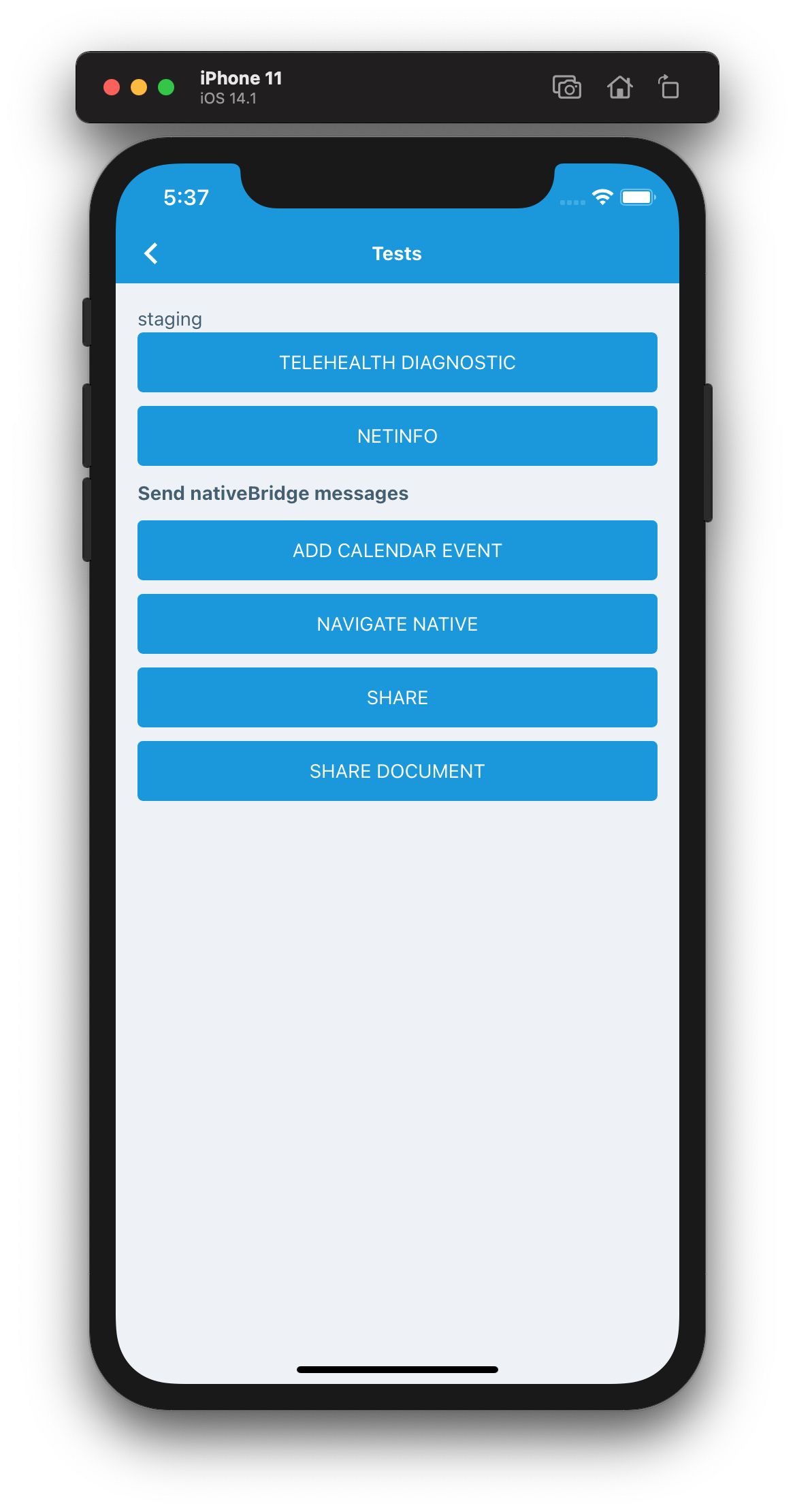 Test screen used by Detox to test native features of the patient application