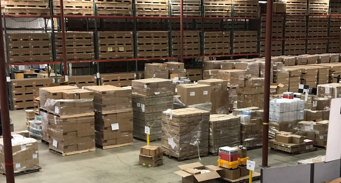 Warehouse full of boxes of PPE.