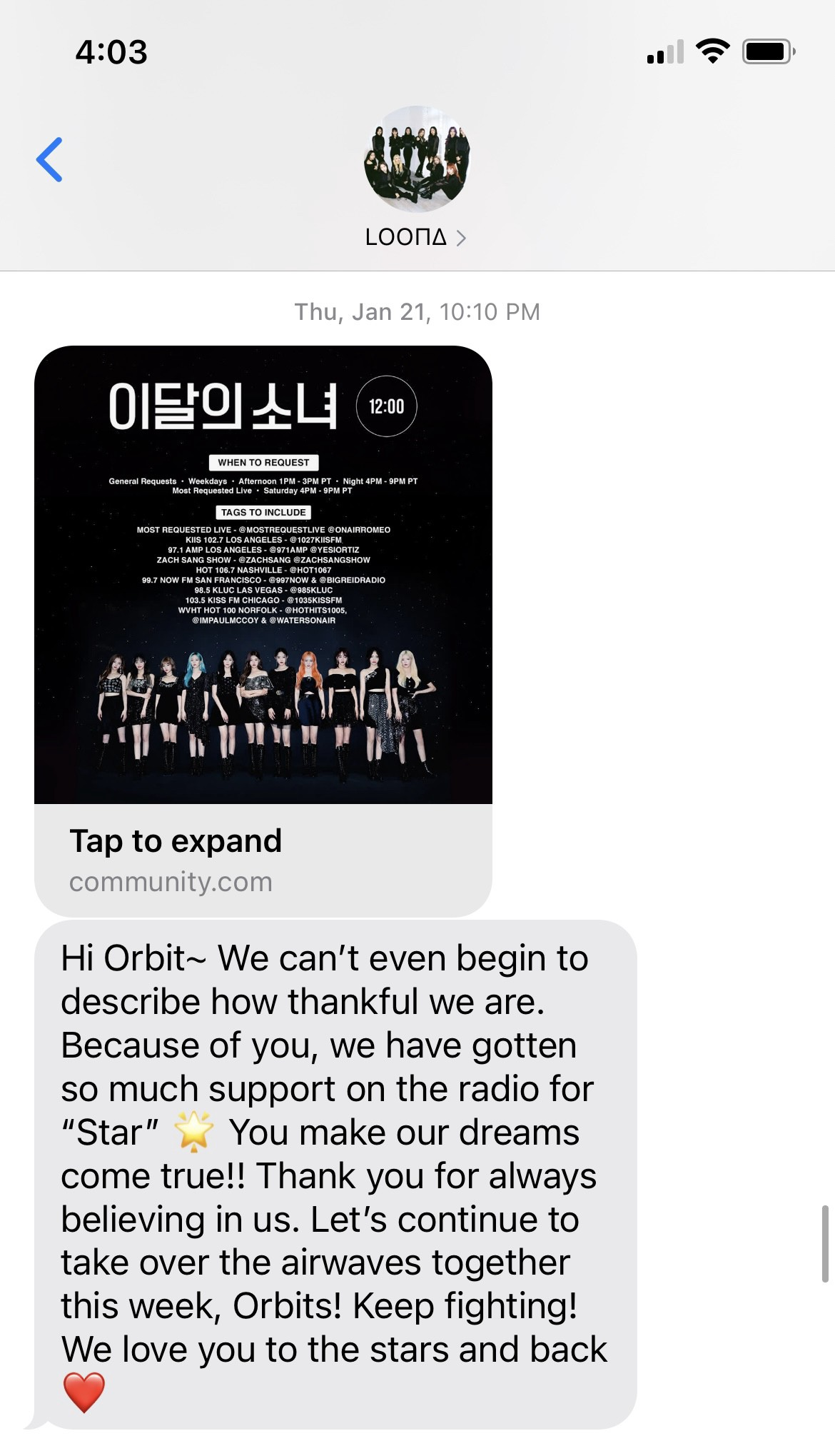 """A text reading """"Hi Orbit~ We can't even begin to describe how thankful we are. Because of you, we have gotten so much support on the radio for """"Star"""" 🌟 You make our dreams come true!! Thank you for always believing in us. Let's continue to take over the airwaves together this week, Orbits! Keep fighting! We love you to the stars and back ❤️"""" with an image containing the names and twitter handles of several radio stations"""