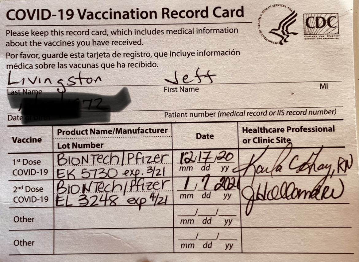 Example of Covid vaccination record