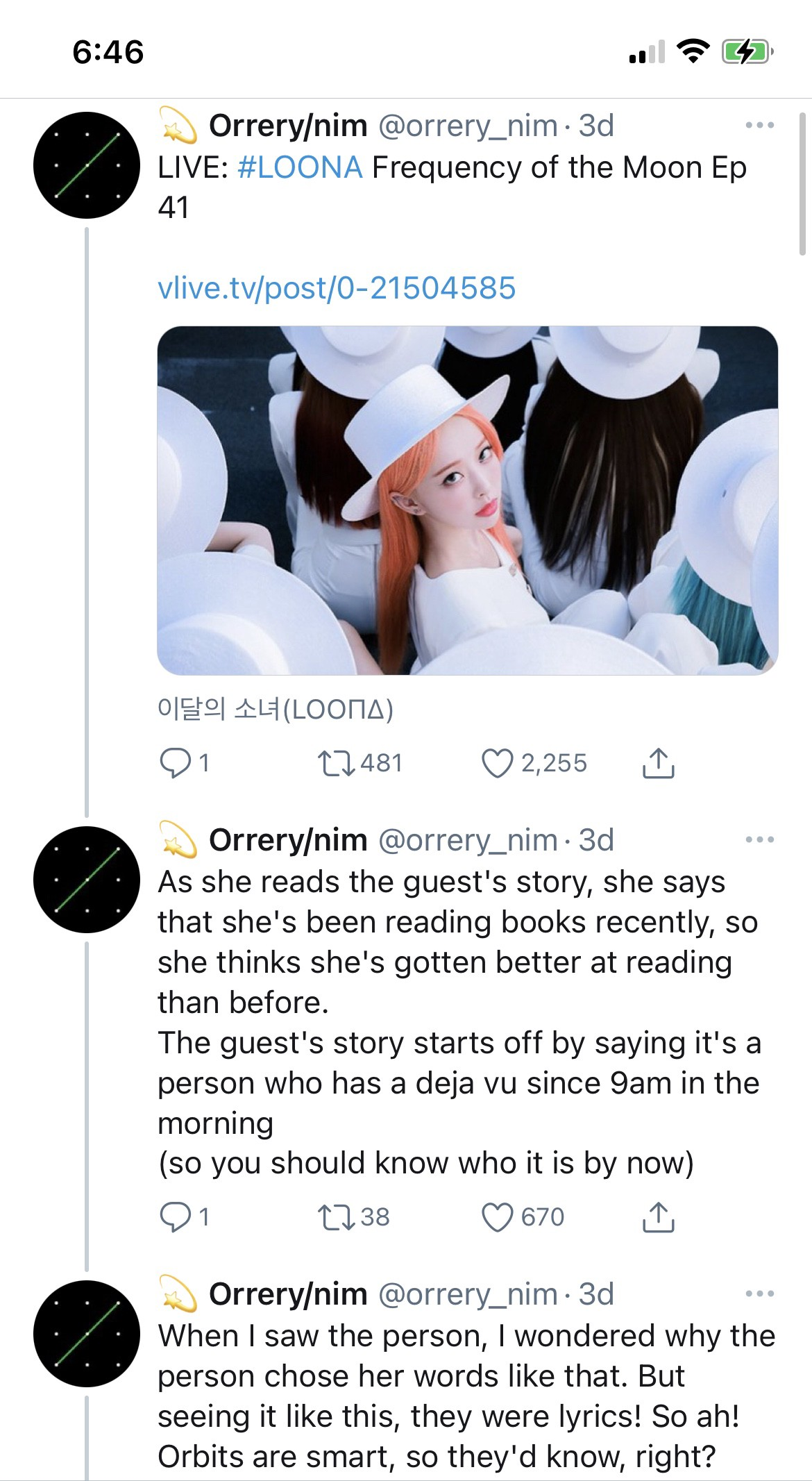A twitter thread from user @orrery_nim containing English translations