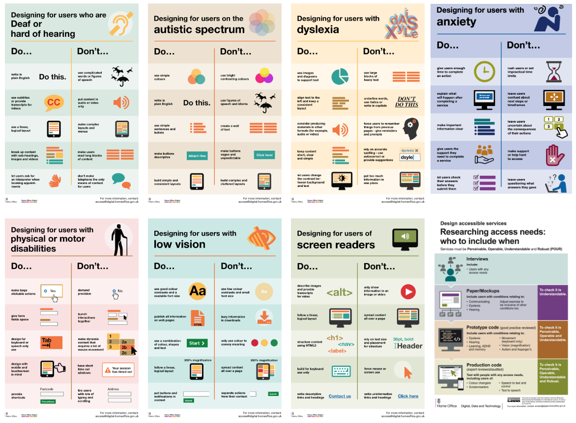 Posters giving simple do and don't advice for various disability issues