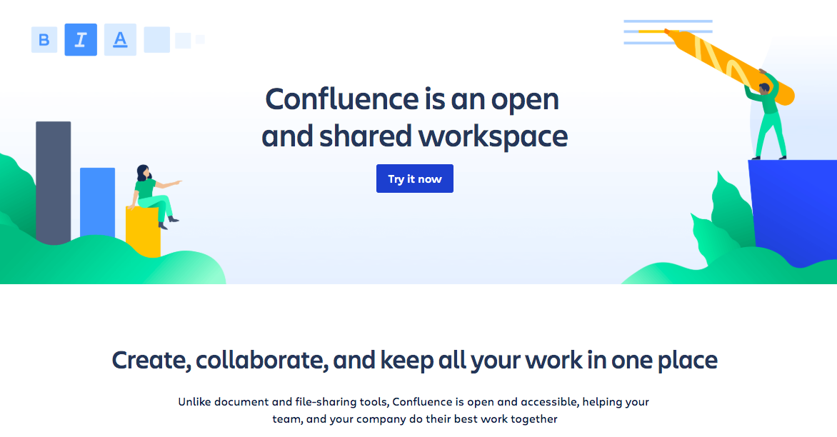 Confluence landing page telling a beautiful story about it.