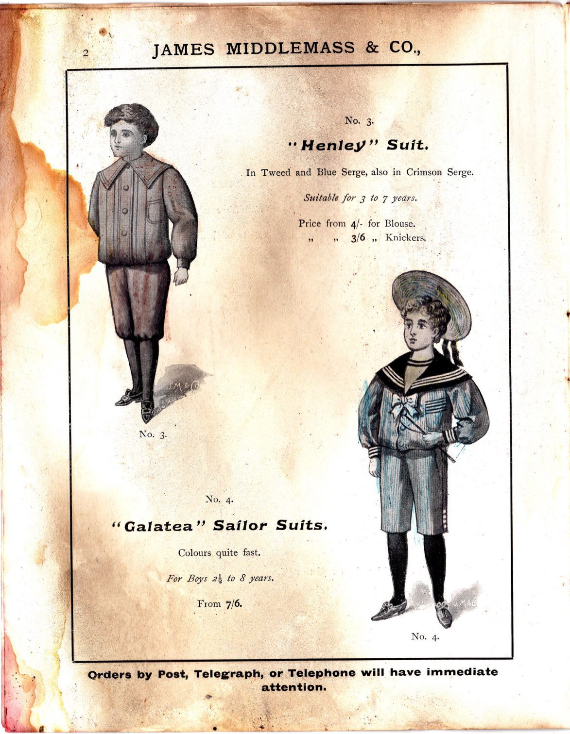 """""""Henley"""" Suit and """"Galatea"""" Sailor Suits"""