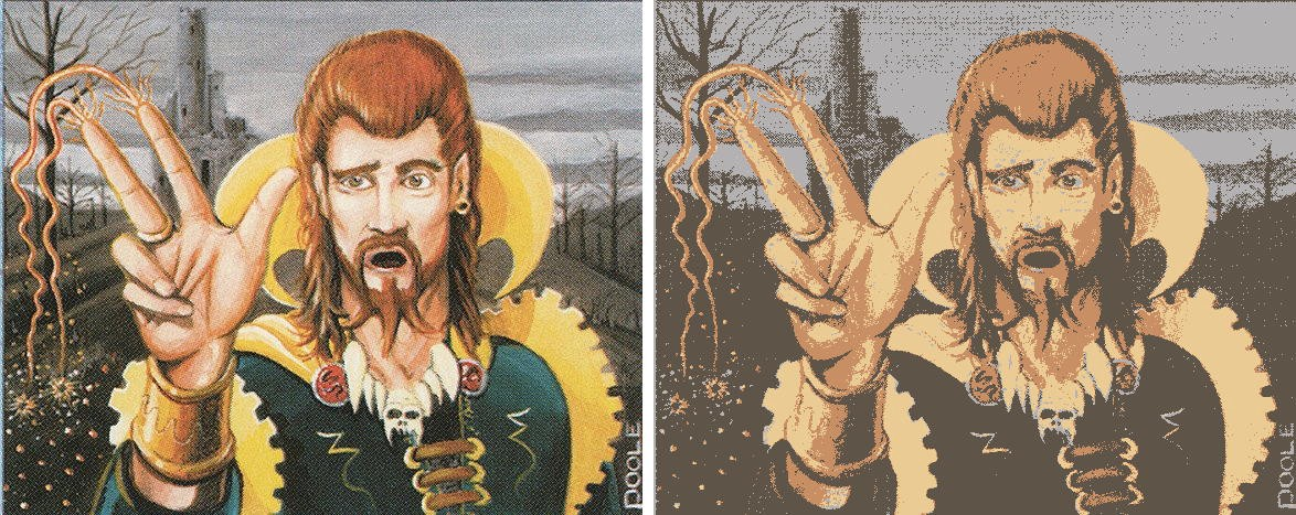 On the left, the original art for Counterspell. On the right, the same artwork reduced to only 4 colors.