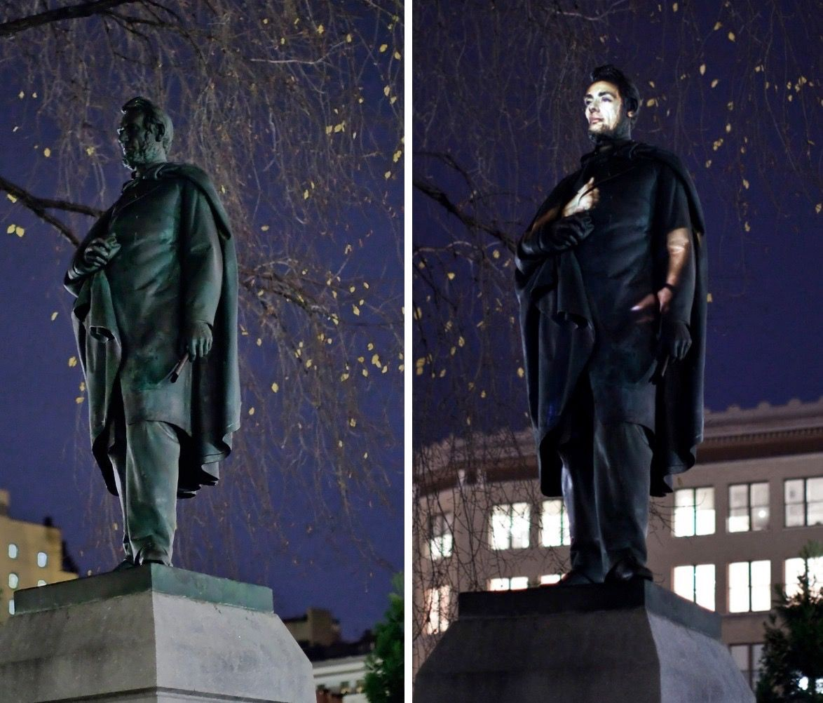 Krzysztof Wodiczko projected interviews with US Army veterans on a statue of Abraham Lincoln in Union Square