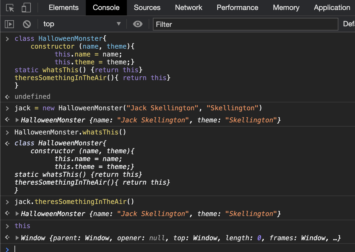 A section of code in the console examining what 'this' is at different levels