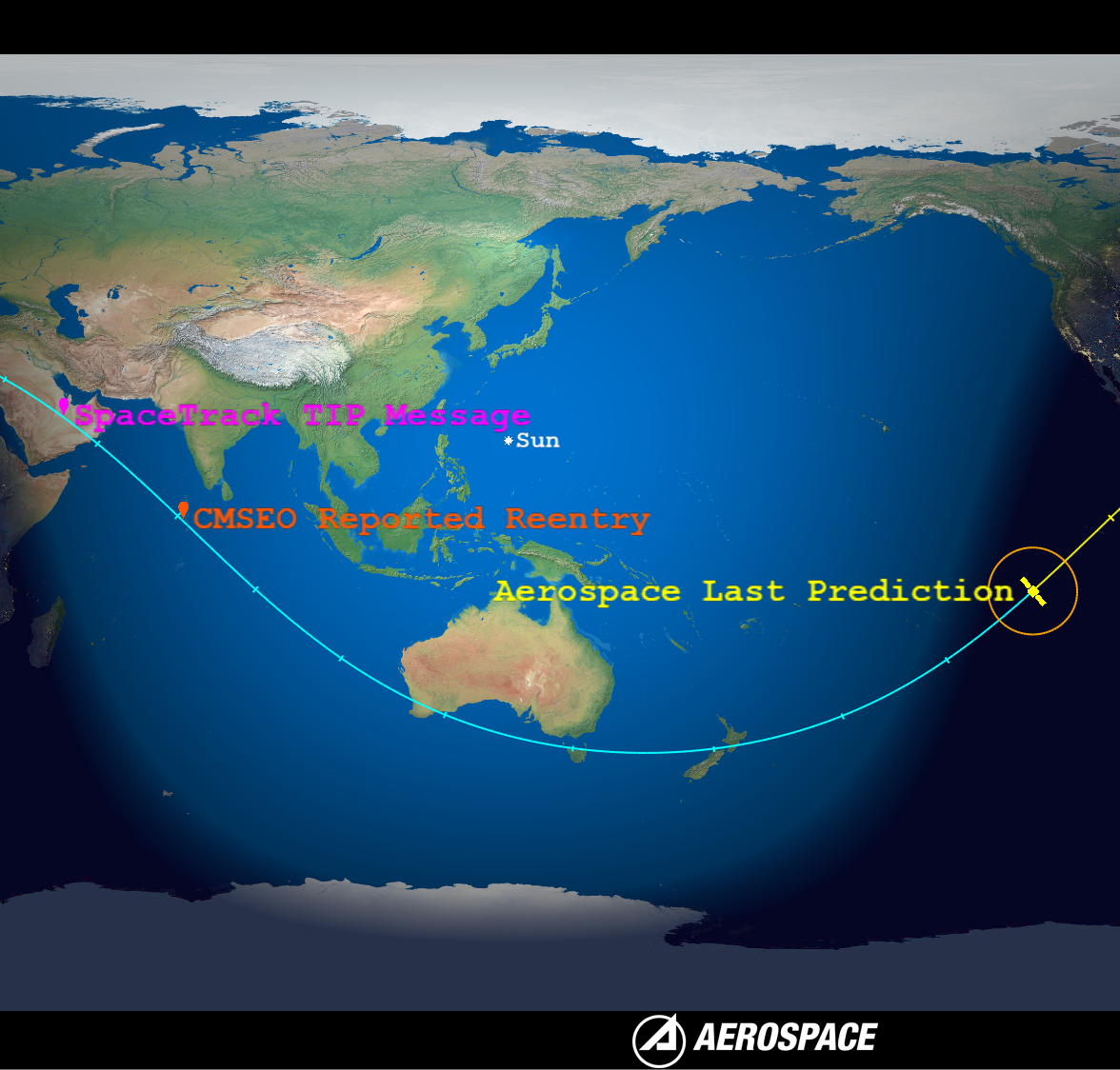 Long March 5B Reentry Path estimates compared. This image shows that the CORDS' prediction was the correct path, but estimated the reentry +40 minutes later.