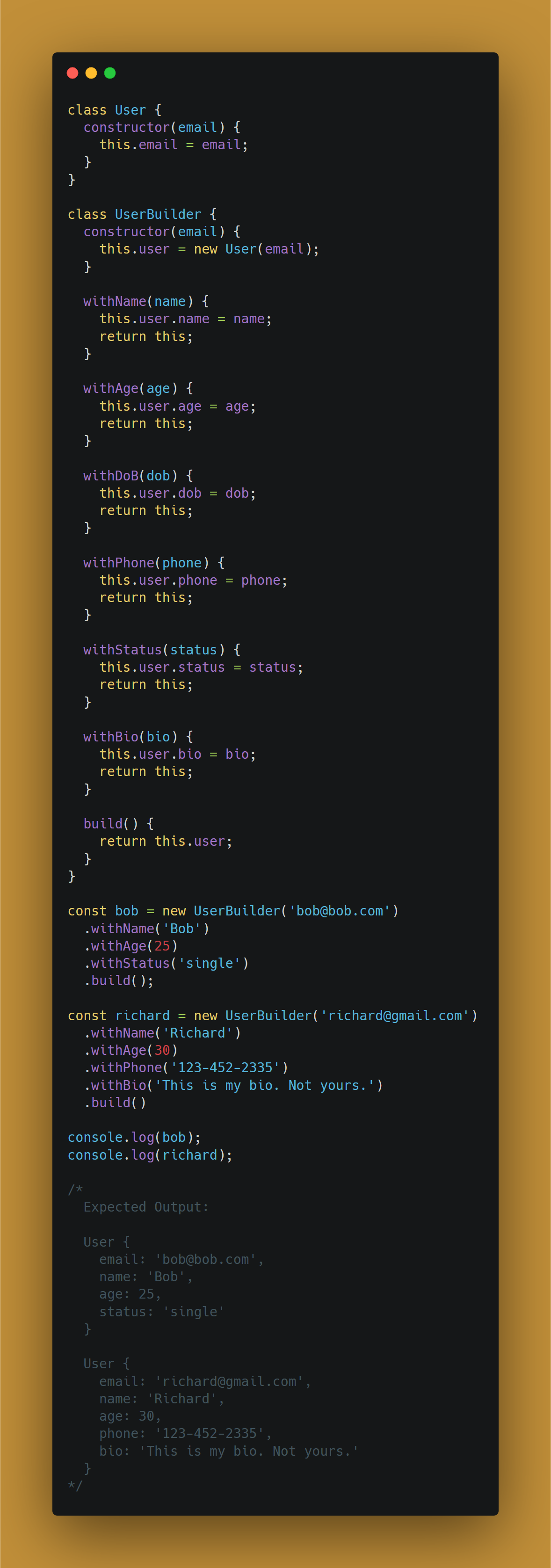 Example of constructing a complex object with the builder design pattern in JavaScript