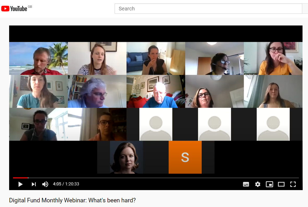 Screenshot of Youtube showing image from the Digital Fund webinar