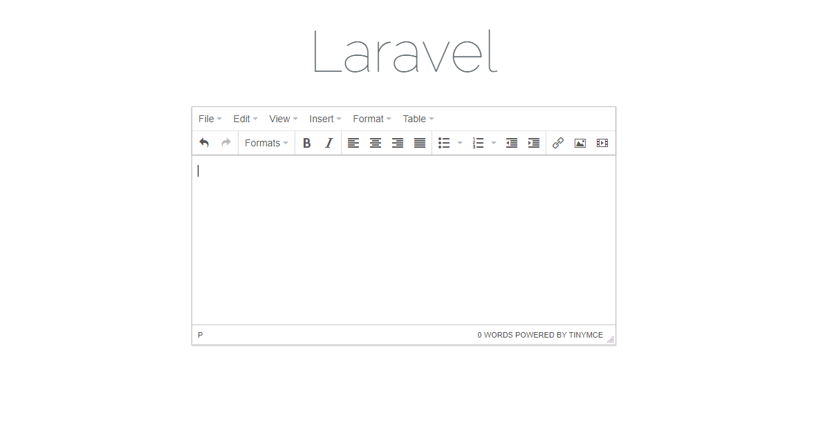 Integrate TinyMCE editor in your Laravel Installation with a