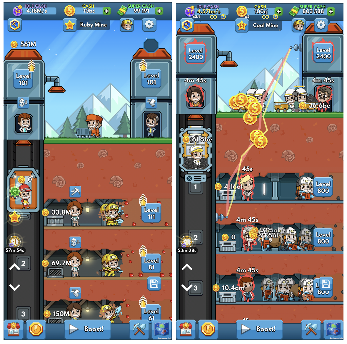 Screenshots of mobile game