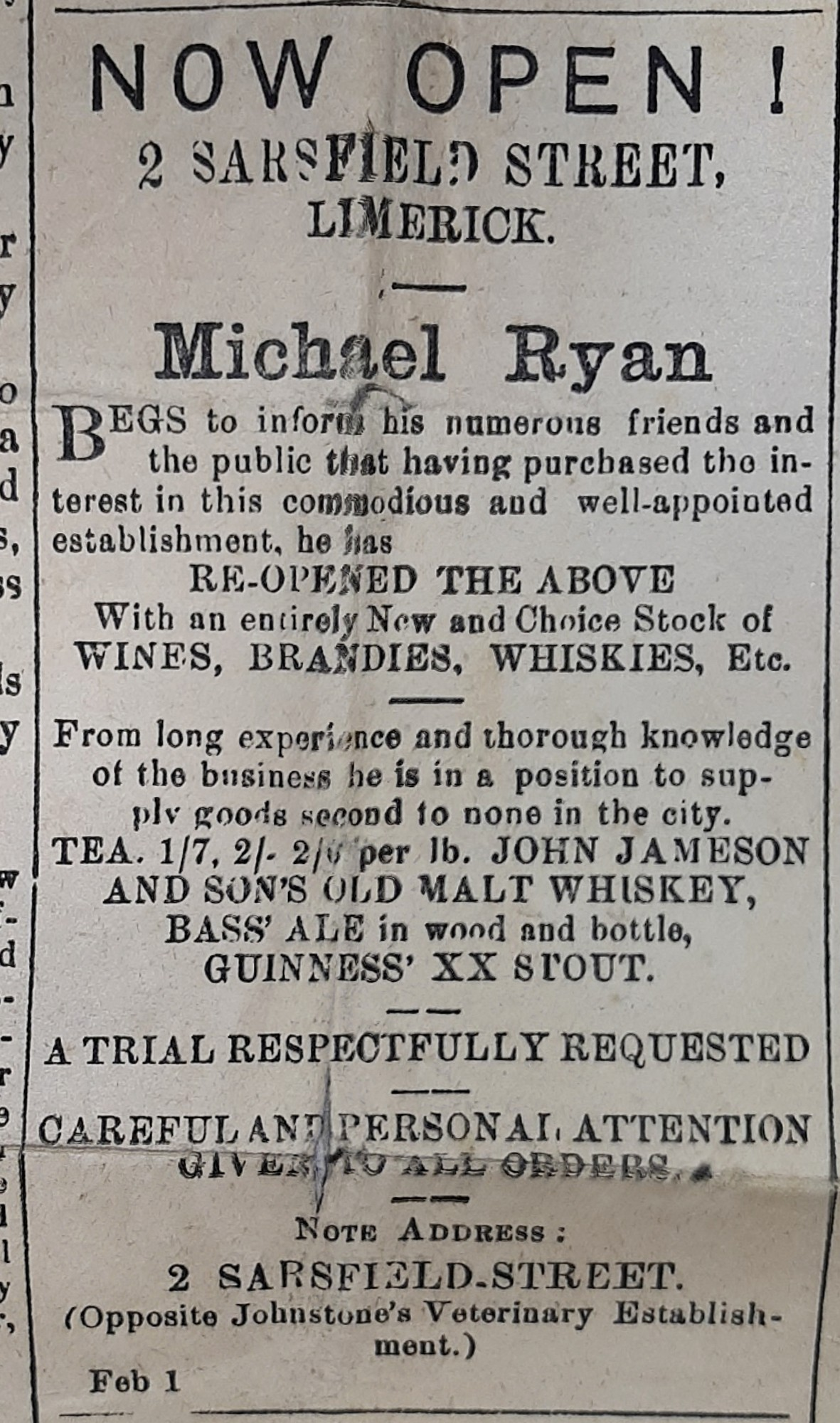 19th century newspaper ad—my great-grandfather opens his own business—February 1st, 1893