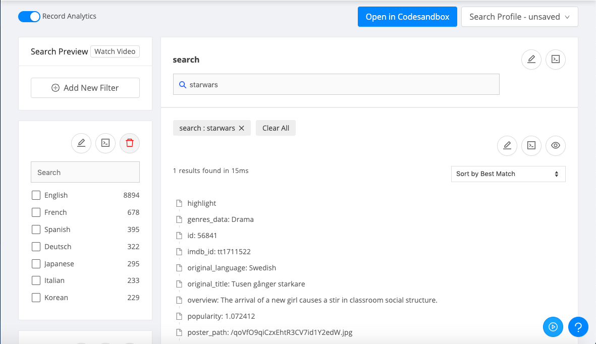 Appbase.io Dashboard: Search Preview, where you can instantly replay searches and save search profiles