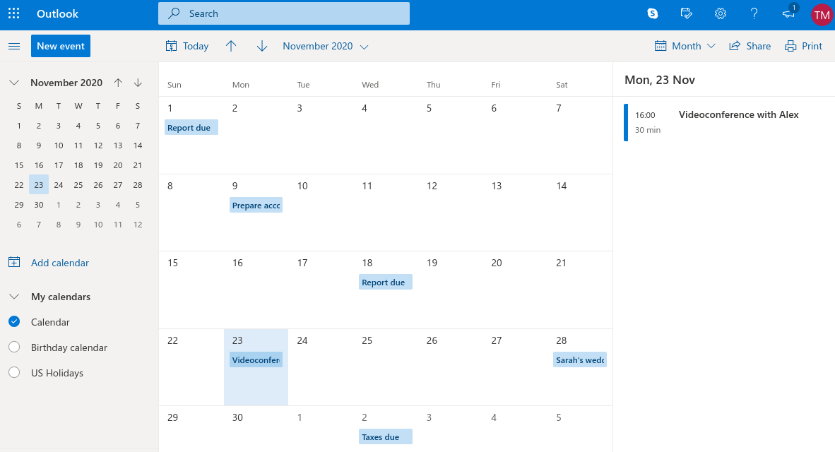 Outlook Calendar - Desktop View