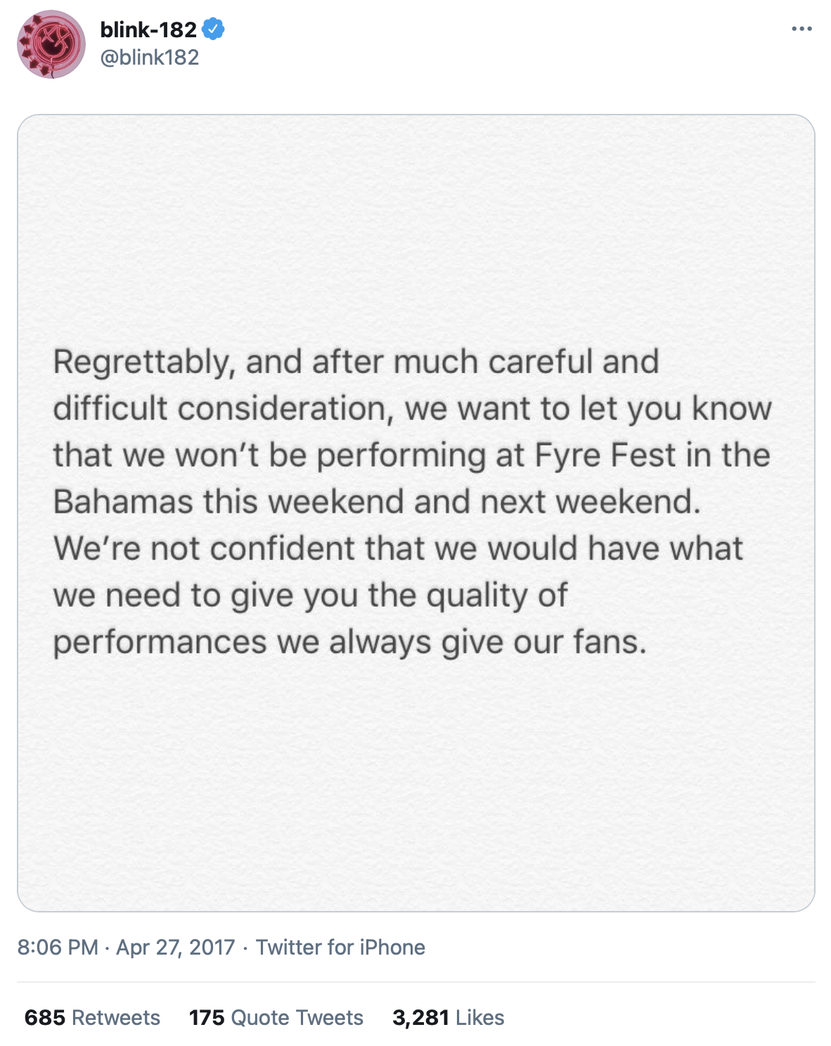 A message from Blink-182 regarding the cancellation of their performance at Fyre Festival via Twitter