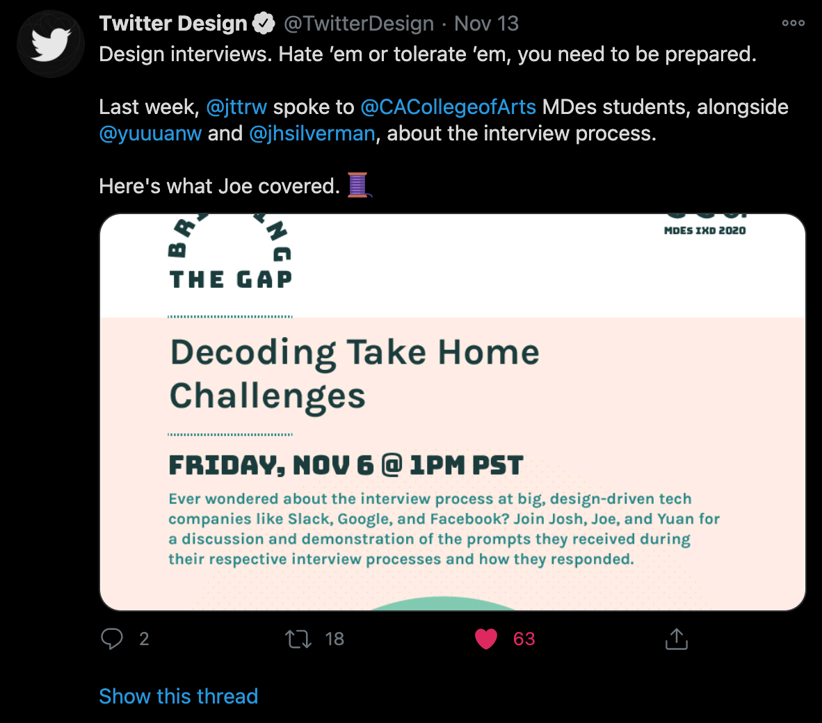 A Twitter thread about design interviews.