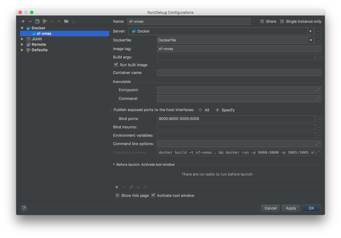 Running a Play app with Docker locally and debugging with