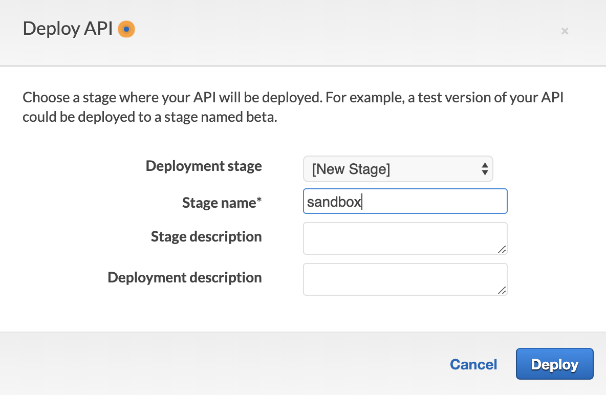 Deploy API — create stage