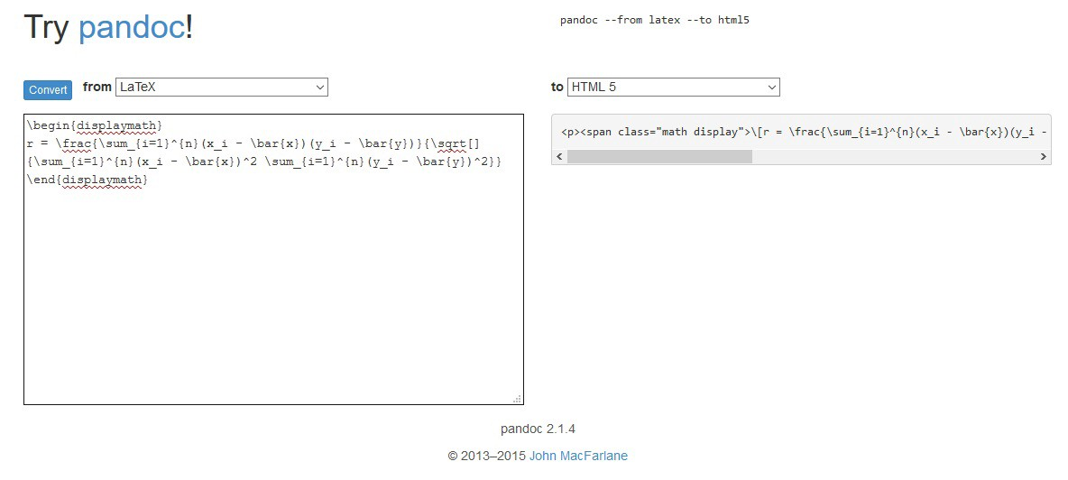 Pandoc latex to html online