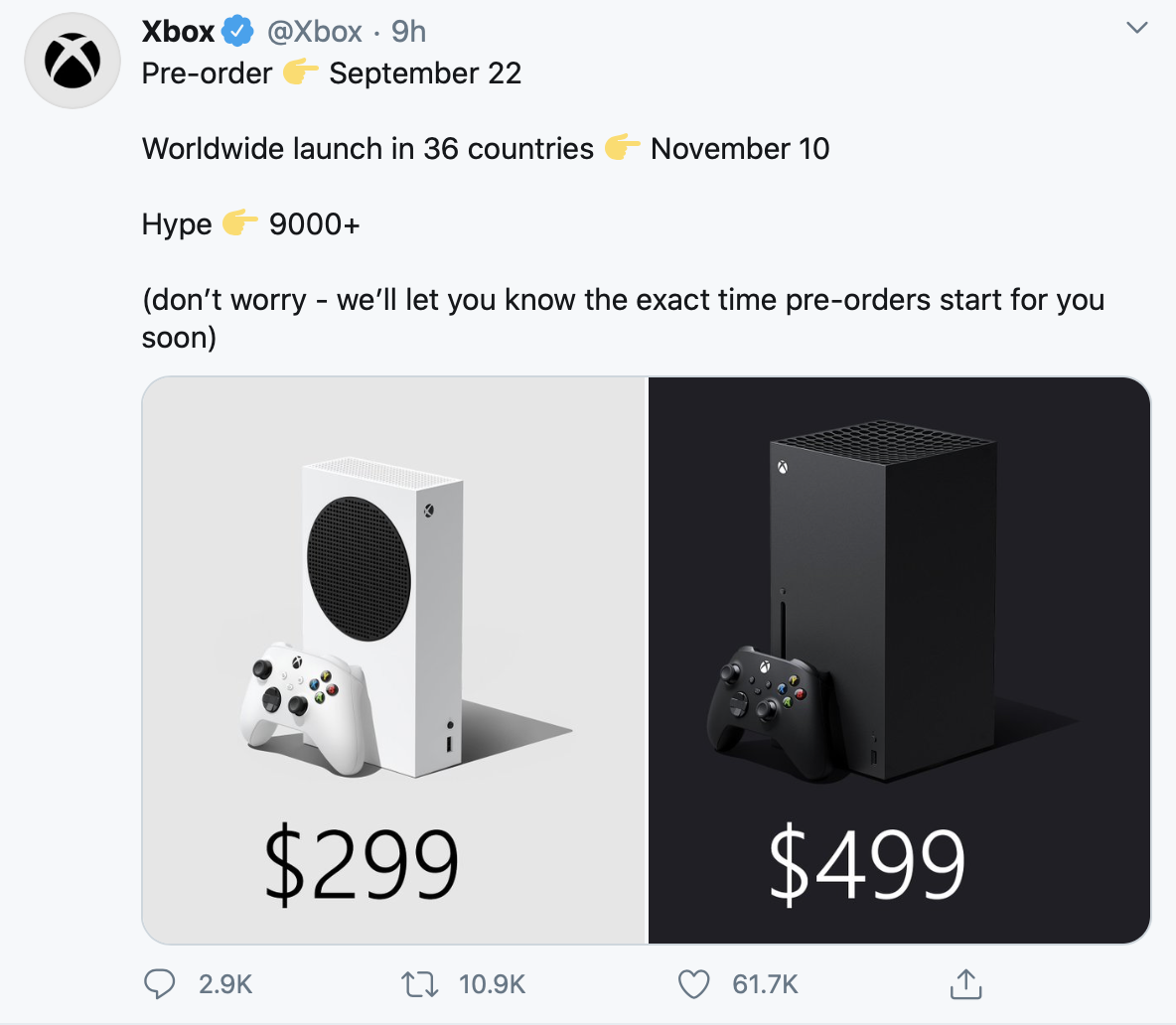 Announcement of Xbox Series X and Xbox Series S consoles.