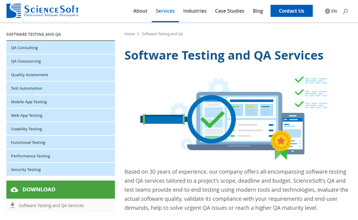 ScienceSoft—Software Testing and QA Services