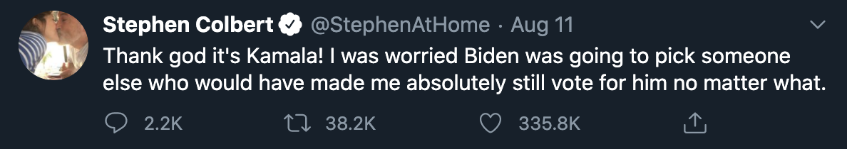 """Thank god it's Kamala! I was worried Biden was going to pick someone else who would have made me absolutely still vote for h"