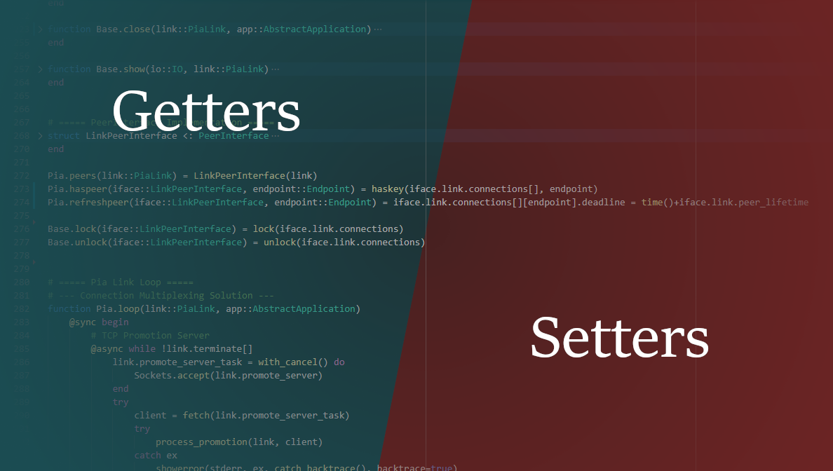 """Decorative image of labels """"getters"""" and """"setters"""" above a code editor."""
