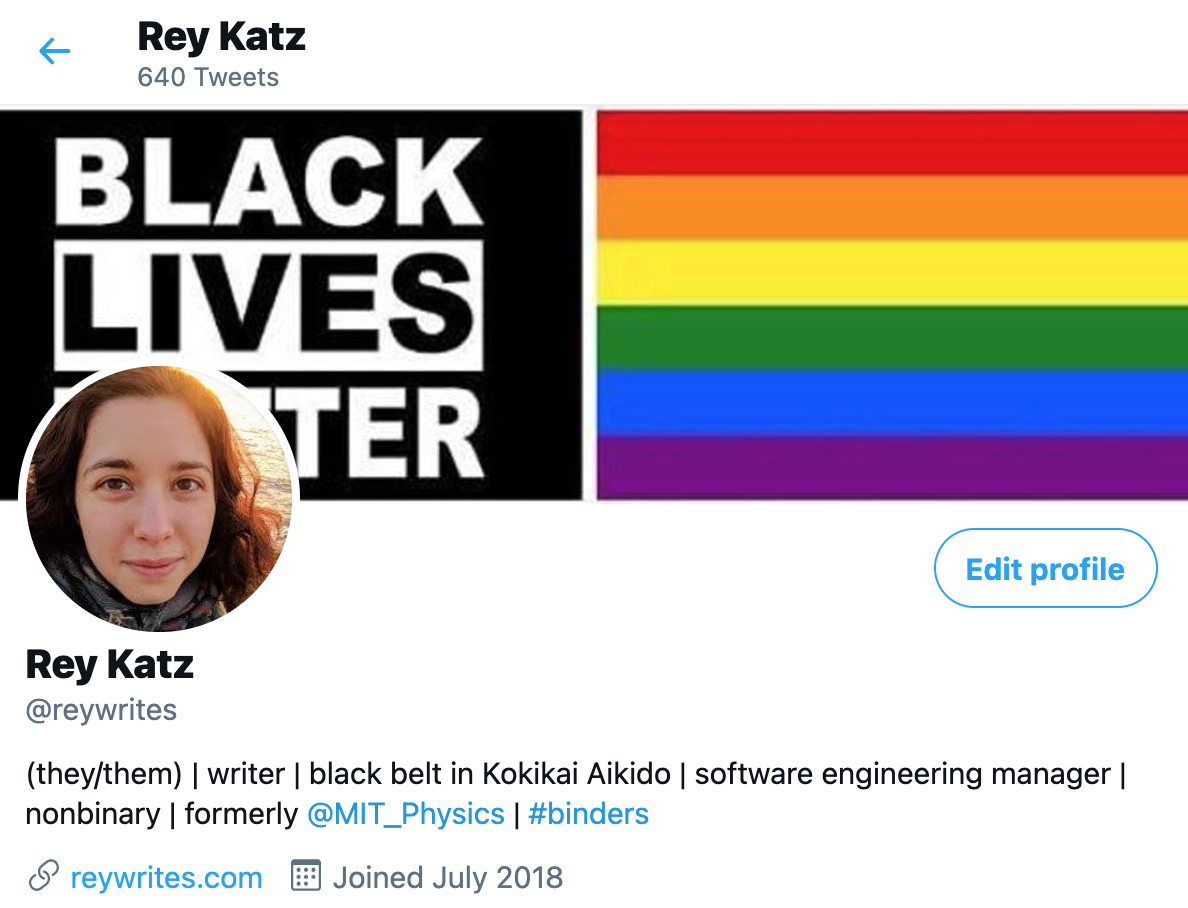 A screenshot of Rey's twitter profile, showing a photo of the author and a Black Lives Matter image next to a rainbow.