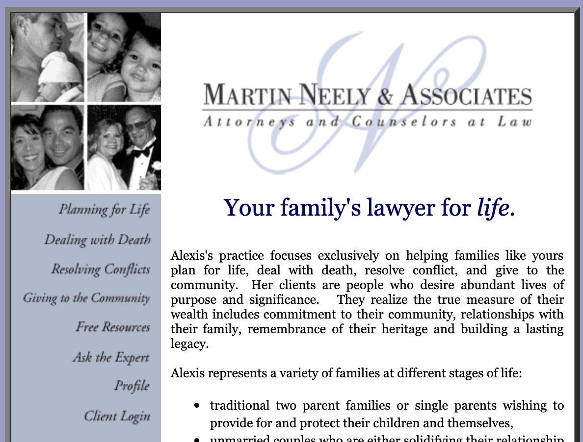 The very first home-made website for my law practice, Martin Neely & Associates