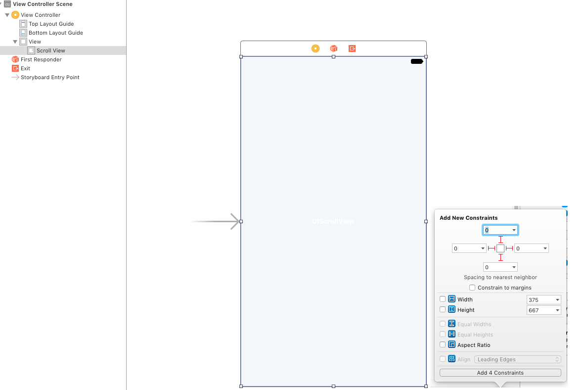 UIScrollView autolayout on a storyboard  A step-by-step guide