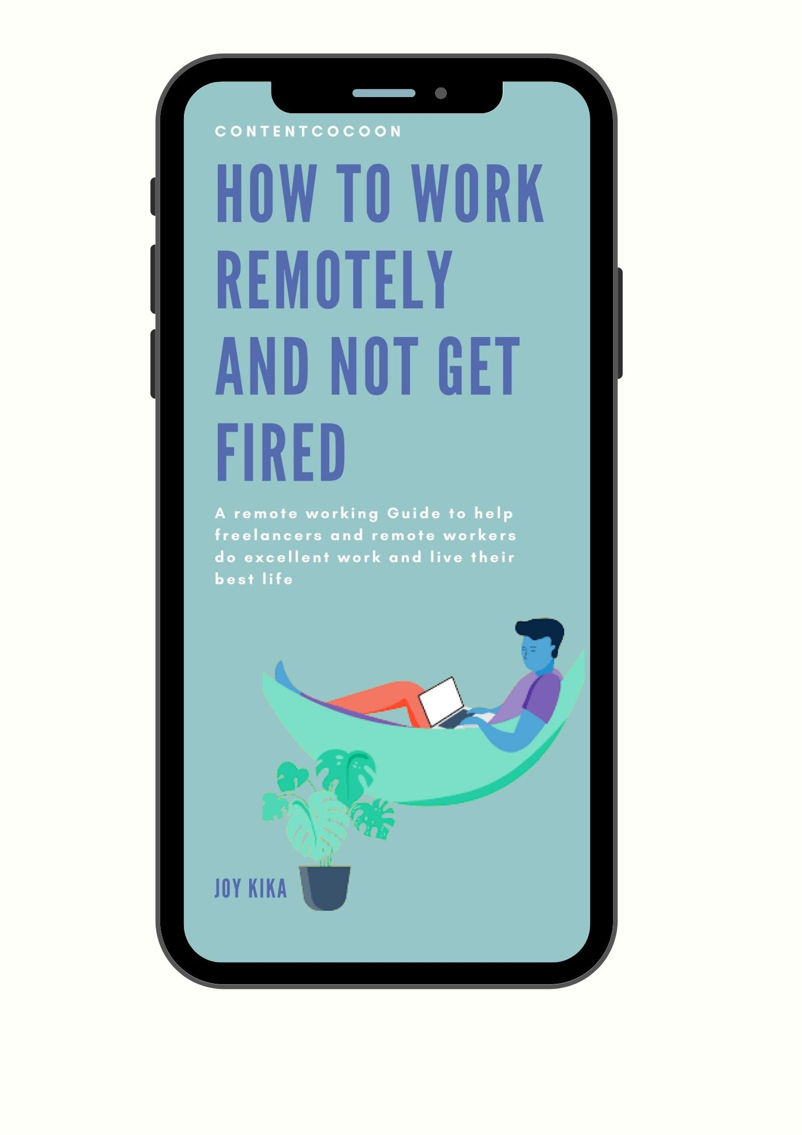 An ebook about working remotely being displayed on a mobile screen
