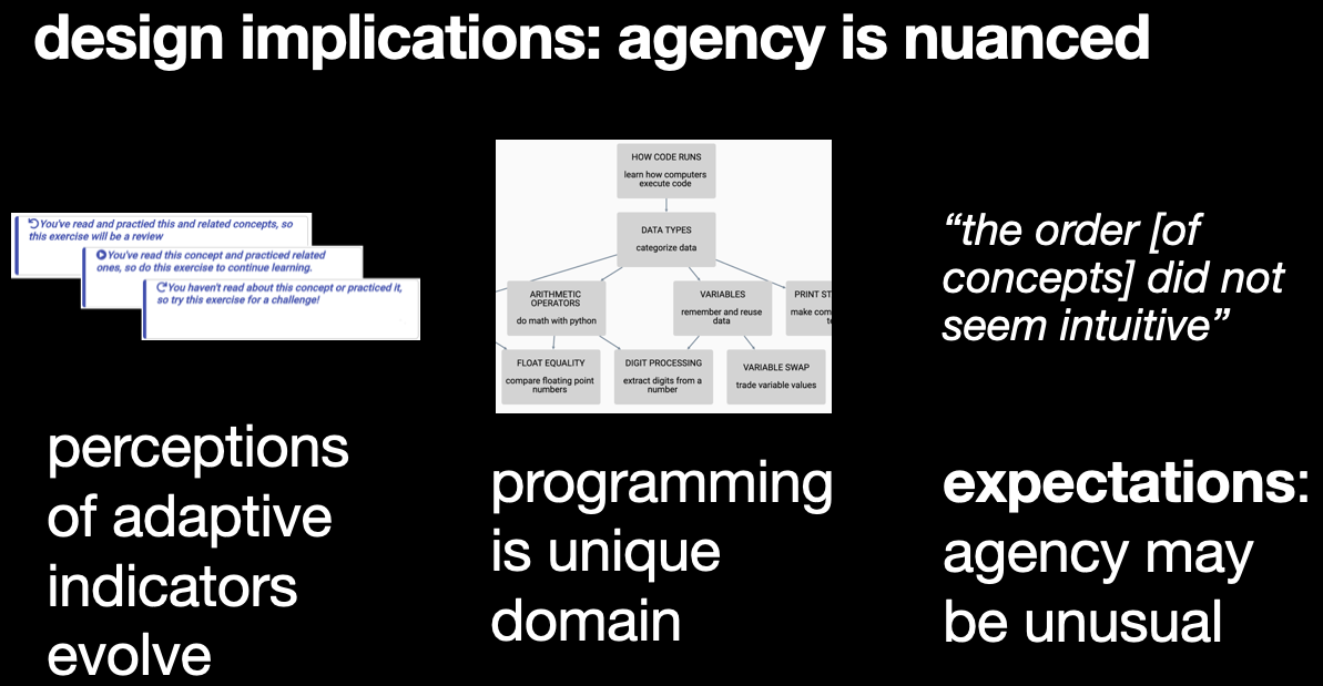 Design implications related to recommendations, the programming domain, and expectations about agency.